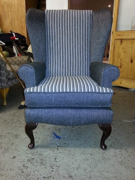 Re-upholstered Armchair in Blue Stripe Fabric