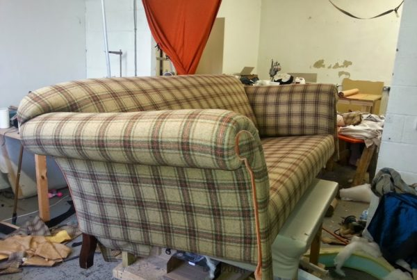 Upholstered Check Sofa